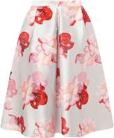 **Luxe Silver Floral Print Prom Skirt