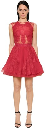 ZUHAIR MURAD Flared Cady & Chiffon Mini Dress