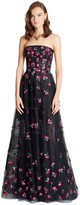 Oscar de la Renta Carnation Embroidered Tulle Gown