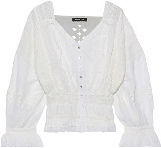 Love Sam Crochet-paneled Pintucked Embroidered Cotton Blouse