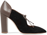 Malone Souliers Majorie Cutout Suede And Leather Pumps