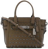 Coach round studded shoulder bag - women - Leather/metal - One Size