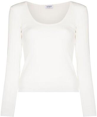 Leset pointelle pinstripe long-sleeve T-shirt
