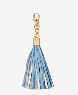 GiGi New York Tassel Bag Charm, Light Blue and White