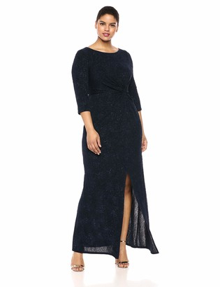 Alex Evenings Women's Plus Size Long Dress with Knot Front Detail