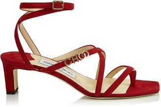 Jimmy Choo JAS 50 Red Suede Strappy Sandal with Choo Logo