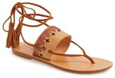 Soludos Embroidered Lace Up Flat Sandal