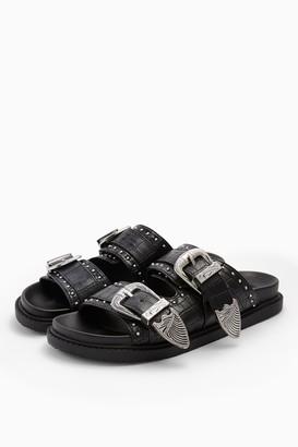 Topshop Womens **Wide Fit Peru Black Footbed Sandals - Black