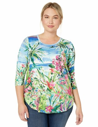 Karen Kane Women's Plus Size 3/4 Sleeve Shirttail TEE