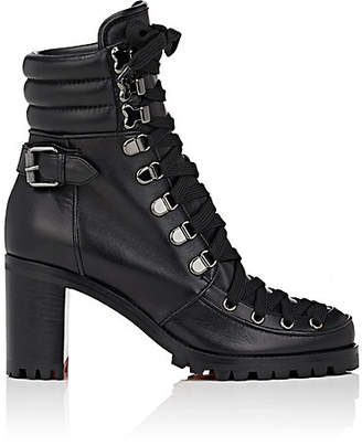 Christian Louboutin Women's Who Runs Leather Ankle Boots - Black, Black lucido