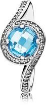 Pandora Ring - Sterling Silver, Cubic Zirconia & Crystal Sky Blue Radiant Embellishment