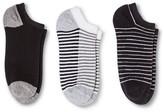 Merona Women's Low-Cut Socks 3-Pack Double Stripe Gray/Black One Size