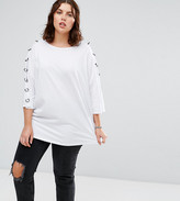 Alice & You 3/4 Sleeve Jersey Top With Chain Link Sleeve Detail