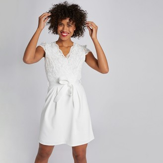 Morgan Tie-Waist Fitted Mini Dress with Laced Short Sleeves