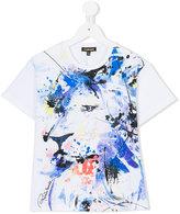 Roberto Cavalli lion print paint splatter T-shirt - kids - Cotton/Spandex/Elastane - 4 yrs