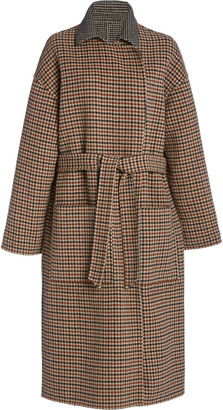 Nanushka Alamo Oversized Reversible Checked Wool-Blend Coat