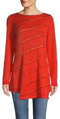 Vince Camuto Sapphire Sheen Fringe Striped Sweater