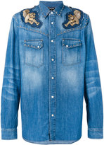 Just Cavalli denim appliqué shirt - men - Cotton - 46