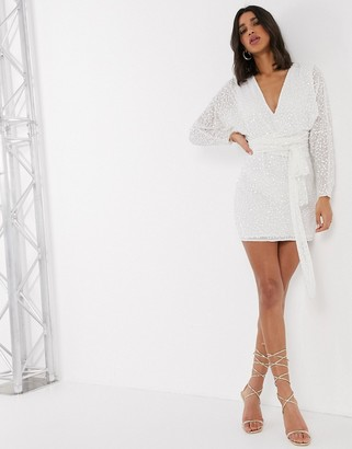 ASOS DESIGN mini dress with batwing sleeve and wrap waist in White scatter sequin