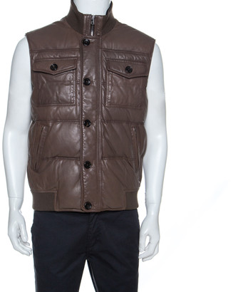 Gucci Brown Leather Quilted Bomber Jacket M