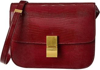 Celine Medium Classic Lizard-Embossed Leather Shoulder Bag