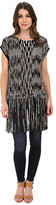 Vince Camuto Sleeveless Racked Rib Sweater w/ Fringe