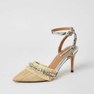 River Island Womens Beige raffia embellished heeled court shoe