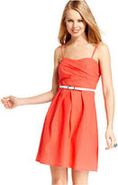 Amy Byer Juniors Dress, Sleeveless Belted Seersucker