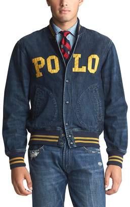 Polo Ralph Lauren Denim Baseball Jacket with Pockets and Logo