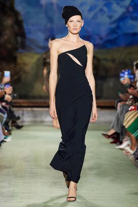 Brandon Maxwell Asymmetrical Strapless Column Gown