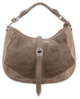 Burberry Leather-Trimmed Suede Hobo