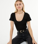 Thumbnail for your product : New Look Ribbed Scoop Neck Seamed Bodysuit