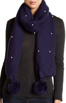 David & Young Pom & Pearls Knit Scarf
