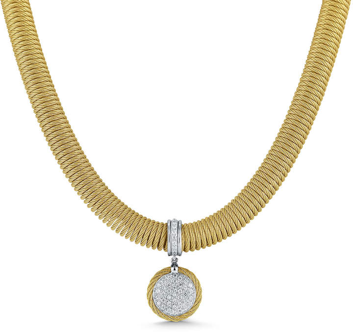 Alor Spring Coil Cable & Round Diamond Pendant Necklace, Yellow, 0.51 tdcw