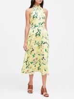 Banana Republic Petite Floral Soft Satin Midi Dress