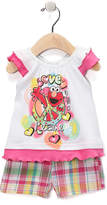 Children's Apparel Network Sesame Street Elmo Pink Angel-Sleeve Top & Shorts - Infant