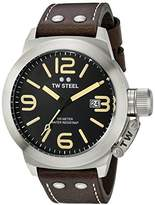 TW Steel Canteen Leather Unisex Quartz Watch with Black Dial Analogue Display and Black Leather Strap CS32