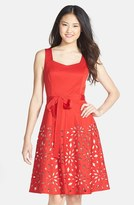 NUE by Shani Laser Cut Bengaline Fit & Flare Dress