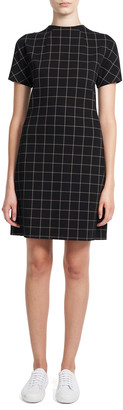 Theory Dolman-Sleeve Windowpane Check Eco Ponte Mini Dress