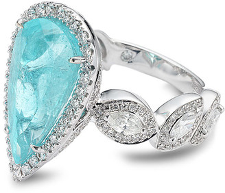 Coomi Trinity 18k White Gold Pear Paraiba Ring w/ Diamonds, Size 7