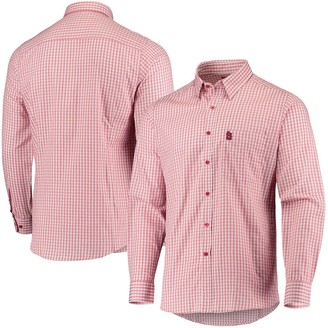 Antigua Men's Red/White St. Louis Cardinals Structure Button-Up Long Sleeve Shirt