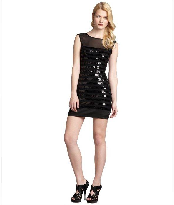 Max & Cleo black chiffon sequin embellished cutout back 'Paige' dress