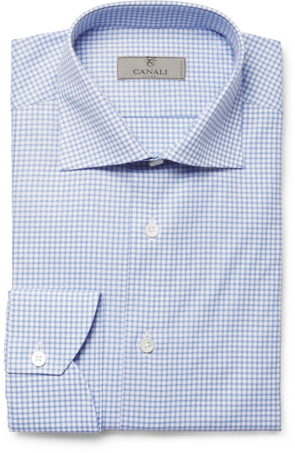 Canali Blue and White Check Cotton Shirt