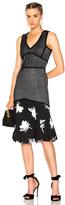 Prabal Gurung Sleeveless Flare Skirt Dress in Black,Floral,Stripes.