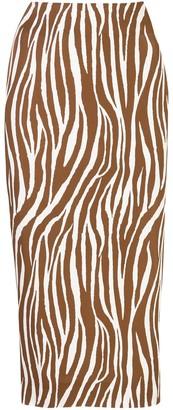 Dvf Diane Von Furstenberg Fitted Zebra Print Silk Skirt