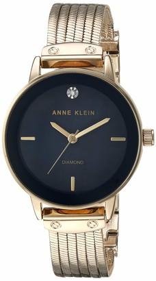 Anne Klein Women's AK/3220RGRG Diamond-Accented Rose Gold-Tone Chain Bracelet Watch