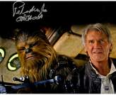 "Star Wars Peter Mayhew Signed ""Chewbacca"" with Han Solo Episode VII: The Force Awakens 8"" x 10"" Photo"