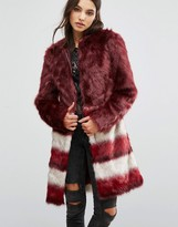 Urban Code Urbancode Faux Fur Coat With Border Stripes