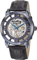 Stuhrling Original Sthrling Original Mens Blue Dial Croc-Look Strap Skeleton Automatic Watch