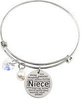 Swarovski Pink Box Women's Bracelets Silver - Silvertone 'Niece' Word Cloud Adjustable Bangle With Crystals